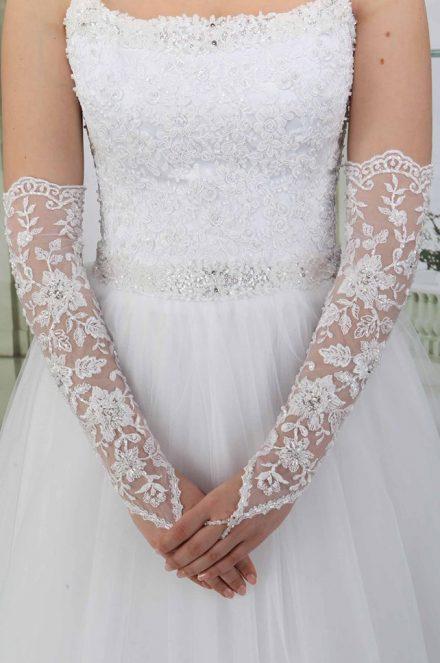 Свадебные перчатки модель 8